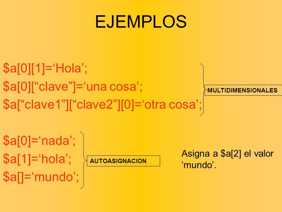 EJEMPLOS $a[0][1]='Hola'; $a[0][ clave ]='una cosa';
